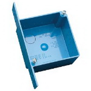 Carlon A52171D 2-Gang ENT Square 4-Inch Outlet Box With Cover; 2.375 Inch Depth, Non-Metallic, 30.3 Cubic-Inch, Blue