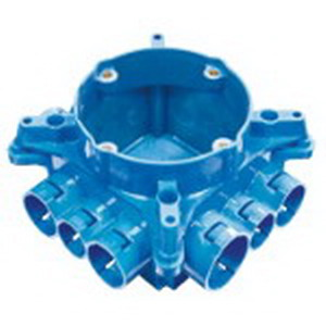 Carlon A863CFG Non-Metallic Mud Box With Ceiling Ring and Ground Lug; Polycarbonate, Blue