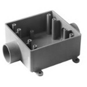 Carlon E9812F Shallow 2-Gang FSC Electrical Switch Box; 1.980 Inch Depth, Non-Metallic, 32 Cubic-Inch, Gray, 1 Inch Hub