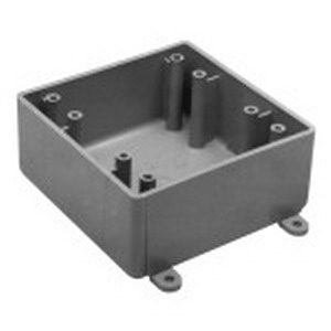 Carlon E9802 Shallow Custom Hub 2-Gang FS Electrical Switch Box; 1.980 Inch Depth, Non-Metallic, 32 Cubic-Inch, Gray