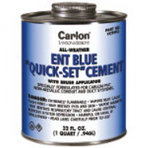 Carlon VC9992 All Weather ENT Blue PVC Cement With Brush; 1 qt, Can, Clear