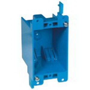 Carlon B114R-UPC Zip Box® Blue™ 1-Gang Outlet Switch Box; 2-3/4 Inch Depth, PVC, 14 Cubic-Inch, Blue