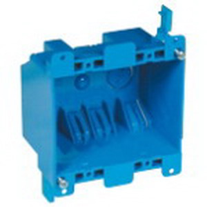 Carlon B225R-UPC Zip Box® Blue™ 2-Gang Switch/Outlet Box; 2-3/4 Inch Depth, PVC, 25 Cubic-Inch, Blue