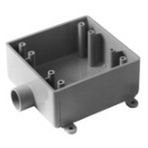 Carlon E9802F Shallow 2-Gang FSE Electrical Switch Box; 1.980 Inch Depth, Non-Metallic, 32 Cubic-Inch, Gray, 1 Inch Hub