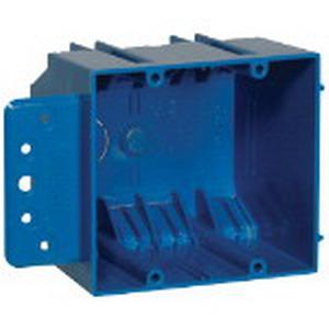 Carlon B232B-UPC Zip Box® Blue™ 2-Gang Switch Box; 3 Inch Depth, PVC, 32 Cubic-Inch, Blue