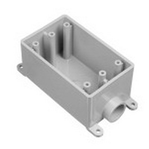 Carlon E980EFN Shallow 1-Gang FSE Electrical Switch Box; 2.300 Inch Depth, Non-Metallic, 18 Cubic-Inch, Gray, 3/4 Inch Hub