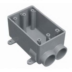 Carlon E982EFN Shallow 1-Gang FSS Electrical Switch Box; 2.420 Inch Depth, Non-Metallic, 18 Cubic-Inch, Gray, 3/4 Inch Hub