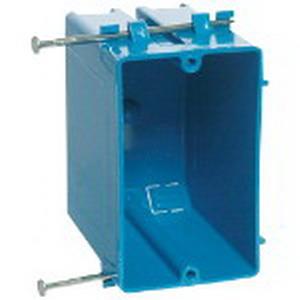 Carlon B120A-UPC Zip Box® Blue™ 1-Gang Outlet Box; 3-1/4 Inch Depth, PVC, 20 Cubic-Inch, Blue