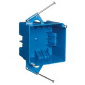 Carlon B432A-UPC 4-Gang Square Switch/Outlet Box; PVC, 4 Inch Width x 2-5/8 Inch Depth, 32 Cubic-Inch, Blue, Nail-On Mount