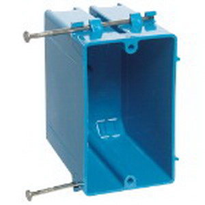 Carlon B122A Zip Box® Blue™ 1-Gang Outlet Box; 3-1/2 Inch Depth, PVC, 22 Cubic-Inch, Blue