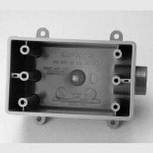 Carlon E9801EN Deep 1-Gang FDE Device Box; 2.990 Inch Depth, 25 Cubic-Inch, Non-Metallic, Gray, 3/4 Inch Hub