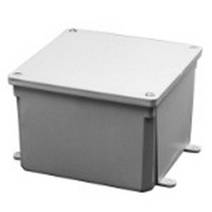 Carlon E987R Junction Box; 4 Inch Depth, PVC, ANSI 61 Gray, Surface Mount