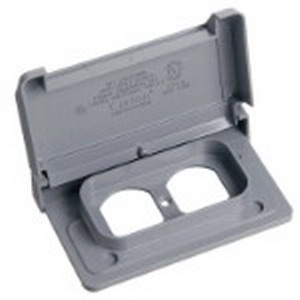 Carlon E98DHGN-CAR Duplex Receptacle 1-Gang Weatherproof Cover; Polycarbonate, Gray