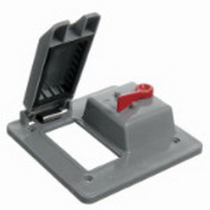 Carlon E9G2GTN-CAR GFCI Receptacle/Toggle Lever 2-Gang Weatherproof Cover; Polycarbonate, Gray