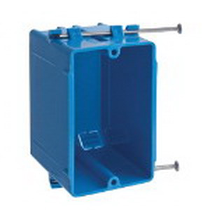 Carlon B118A Zip Box® Blue™ 1-Gang Outlet Switch Box; 3-1/2 Inch Depth, PVC, 18 Cubic-Inch, Blue