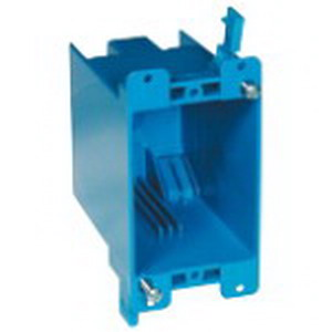 Carlon B120R Zip Box® Blue™ 1-Gang Outlet Box; 3-5/8 Inch Depth, PVC, 20 Cubic-Inch, Blue