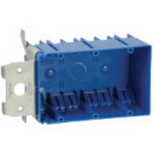 Carlon B349ADJ 3-Gang Outlet Box; 3 Inch Depth, PVC, 49 Cubic-Inch, Blue