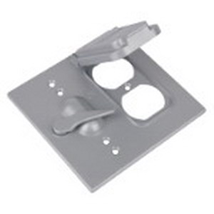 Red Dot 2CCTD Duplex Receptacle/Lever Switch 2-Gang Weatherproof Cover Die-Cast Aluminum  Silver
