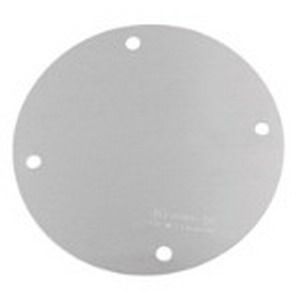 Red Dot SS-B Blank Round Weatherproof Outlet Box Cover; Stamped Aluminum, Silver