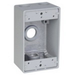 Red Dot DIH4-1-LM D-Pak® Dry-Tite® 1-Gang Universal Weatherproof Box; 2 Inch Depth, A380 Die-Cast Aluminum Alloy, 17 Cubic-Inch, Silver