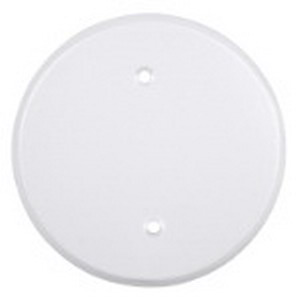 Red Dot CCRSB Round Weatherproof Electrical Box Blank Cover; Device Mount, Stamped Aluminum, White