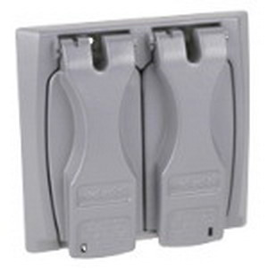 Red Dot 2CCU Receptacle 2-Gang Universal Weatherproof Cover With Flip Lid; Die-Cast Zinc Alloy, Silver