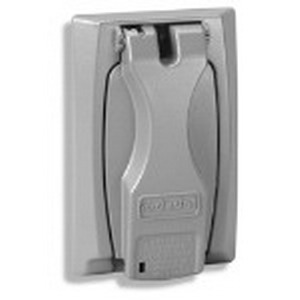 Red Dot CCU GFCI Receptacle 1-Gang Weatherproof Universal Cover With Flip-Lid; Die-Cast Zinc Alloy, Silver