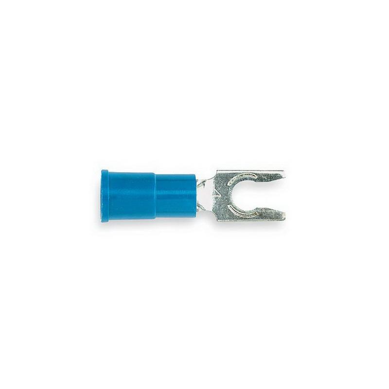 3M MV14-6FLX Scotchlok™ Vinyl Insulated Locking Fork Terminal; 16-14 AWG, #6 Stud, Blue, 100/BT