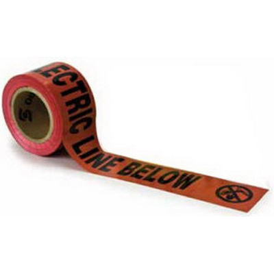 3M 302 Barricade Tape; 3 Inch Width x 1000 ft Length, Red, Caution Buried Electric Line Below, Polyethylene Film