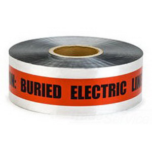 3M 406 Barricade Tape; 3 Inch Width x 1000 ft Length, Red, Caution Buried Electric Line Below, Solid Aluminum Foil Backing With A Clear Film Laminate
