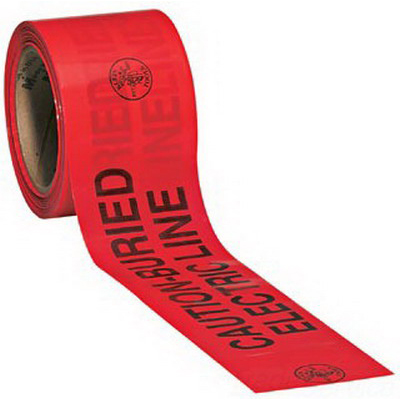3M 408 Barricade Tape; 6 Inch Width x 1000 ft Length, Red, Caution Buried Electric Line Below, Solid Aluminum Foil Backing With A Clear Film Laminate