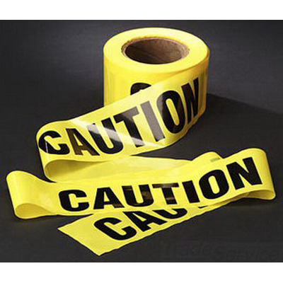 3M 364 Barricade Tape; 3 Inch Width x 1000 ft Length, Yellow, Caution Buried Electric Line Below, Polyethylene Film