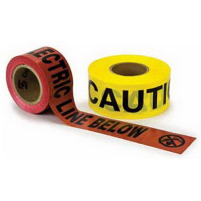 3M 368 Barricade Tape; 6 Inch Width x 1000 ft Length, Red, Caution Buried Electric Line Below, Polyethylene Film