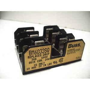 Bussmann BM6033SQ BM Series Supplementary Fuse Block; 1/10 - 30 Amp, 600 Volt AC, DIN-Rail Mounting