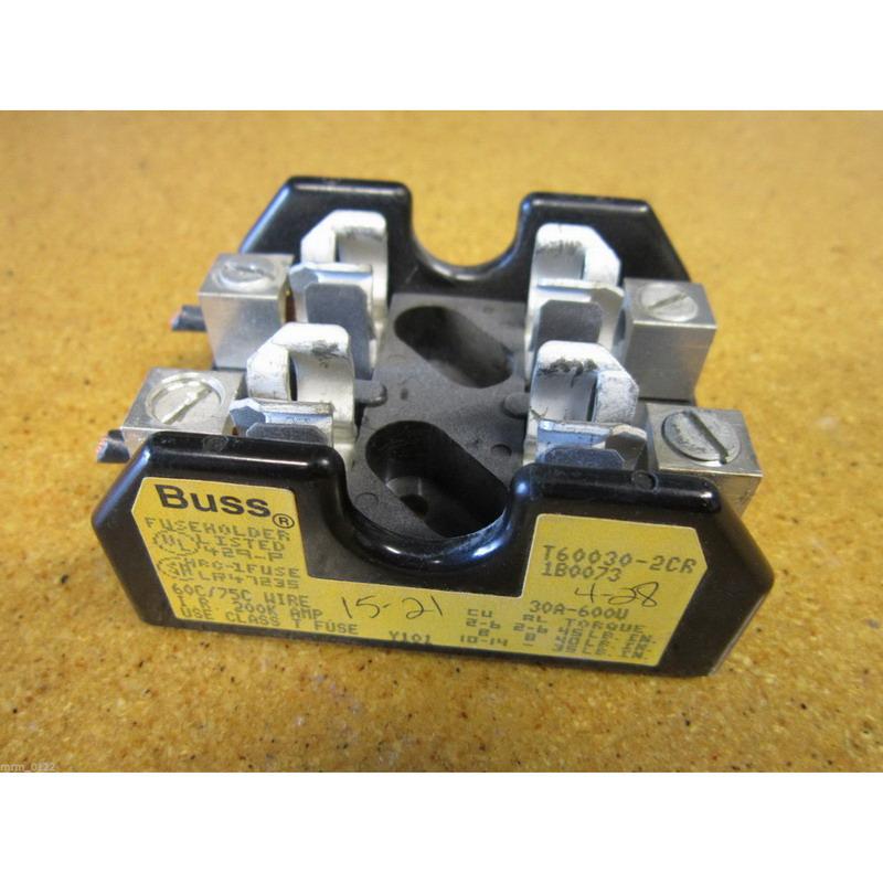 Bussmann T60030-2CR T600 Series Fuse Block; 1/2 - 30 Amp, 600 Volt