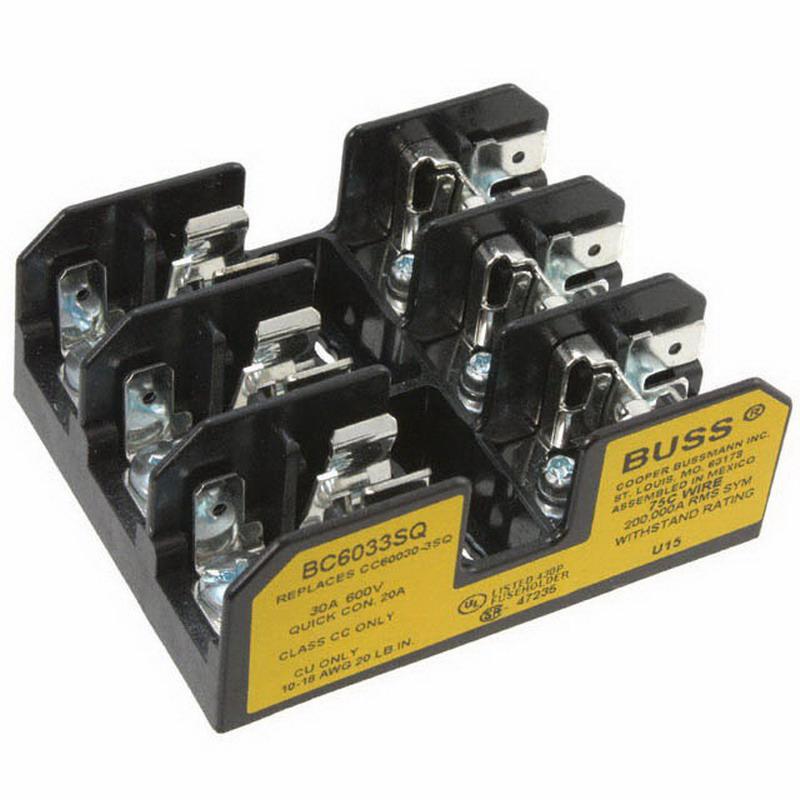 Bussmann BC6033S BC Series Fuse Block; 1/10 - 30 Amp, 600 Volt, DIN-Rail Mounting
