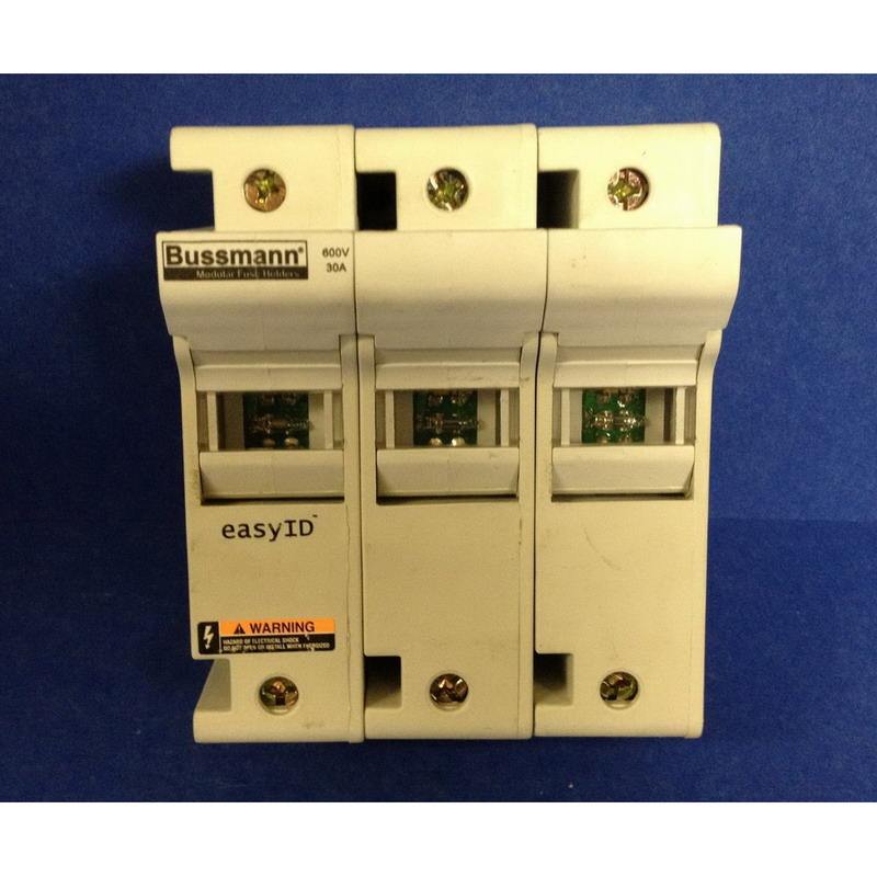 Bussmann CH30J3I CH Series Modular Fuse Holder; 0 - 30 Amp, 600 Volt AC/DC, 35 mm DIN-Rail/Panel Mounting