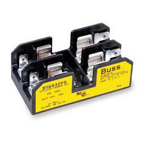 Bussmann BM6032PQ BM Series Supplementary Midget Fuse Block; 1/10 - 30 Amp, 600 Volt AC, DIN-Rail Mounting