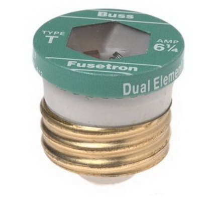 Bussmann T-6-1/4 Time-Delay Plug Fuse; 6-1/4 Amp, 125 Volt AC