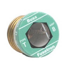 Bussmann T-8 Time-Delay Plug Fuse; 8 Amp, 125 Volt AC