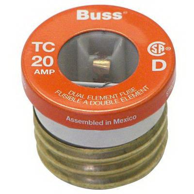 Bussmann T-20 Time-Delay Plug Fuse; 20 Amp, 125 Volt AC