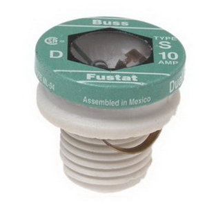 Bussmann S-10 Time-Delay Plug Fuse; 10 Amp, 125 Volt AC
