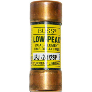 Bussmann LPJ-2-1/2SP Low-Peak® Class J Time-Delay Fuse; 2-1/2 Amp, 600 Volt AC/300 Volt DC