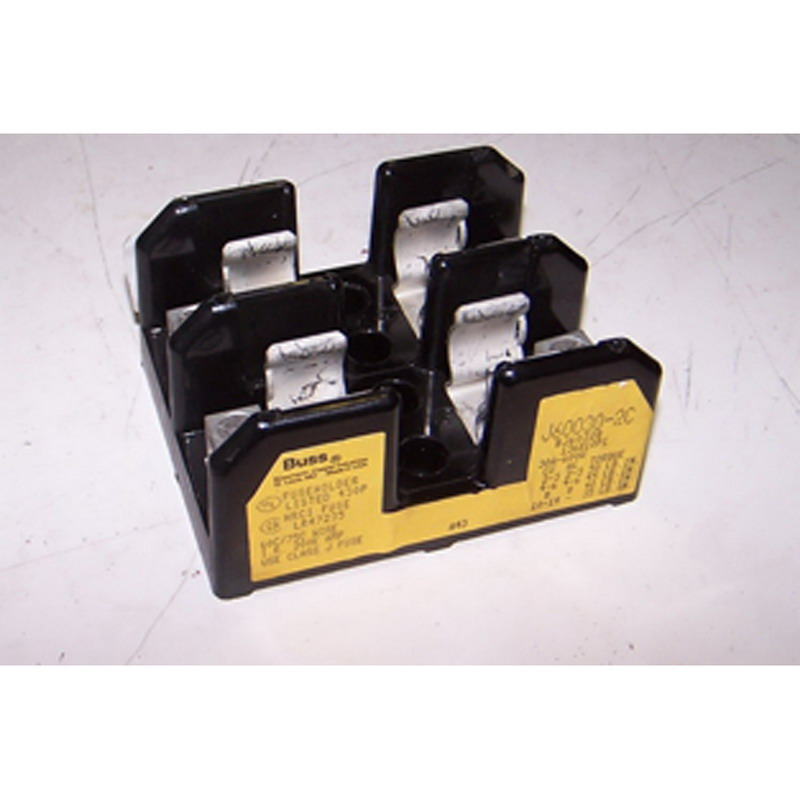 Bussmann J60030-2C J600 Series Fuse Block; 1/2 - 30 Amp, 600 Volt, DIN-Rail Mounting
