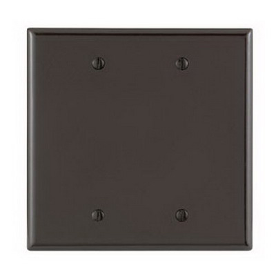 Leviton 80525 PJ23 2-Gang Blank Wallplate; Box Mount, Thermoset, Brown