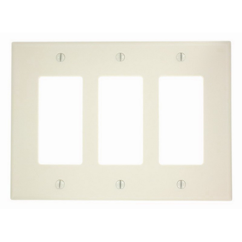 Leviton 80611-T PJ263-T Decora® Midway Size 3-Gang Designer Wallplate; Device/Screw Mount, Thermoset, Light Almond