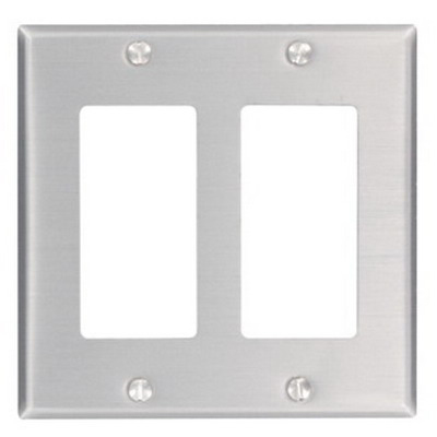 Leviton 83409 A262 Decora Standard Size 2-Gang Wallplate Device/Screw Mount  Aluminum