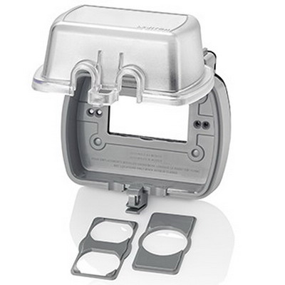 Leviton 5981-UCL Extra Duty Raintight 1-Gang While-In-Use Weather-Resistant Cover; 5.380 Inch Width x 5.560 Inch Height, Horizontal Mount, Polycarbonate, Clear