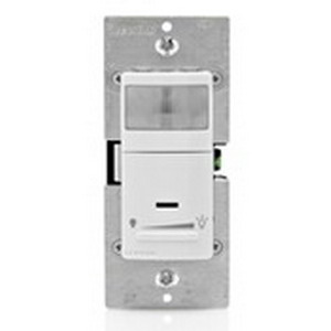 Leviton IPSD6-1LZ Decora® Wall Box Mount Passive Infrared Occupancy Sensor With Dimmer; 120 Volt AC, 600 Watt, 900 Sq ft, Automatic ON/OFF, White/Ivory/Light Almond