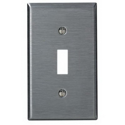 """""Leviton SSJ1-40 1-Gang Toggle Switch Mid Way Wallplate Non Magnetic 302 Stainless Steel, Device Mount,"""""" 88847"